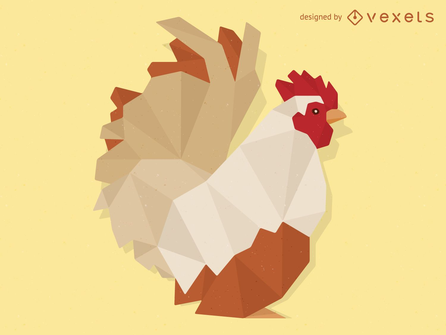 Low poly rooster illustration