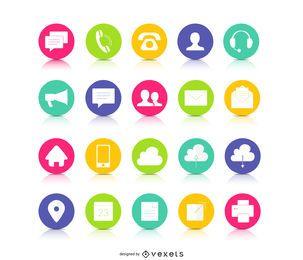 Ícones de contacto botão colorido
