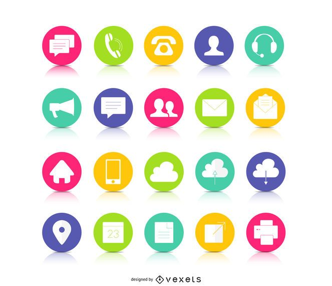 Colorful button contact icons