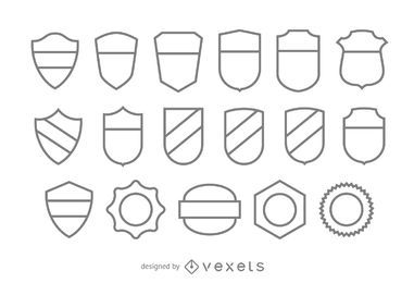 Conjunto de modelo de distintivo de traço em branco