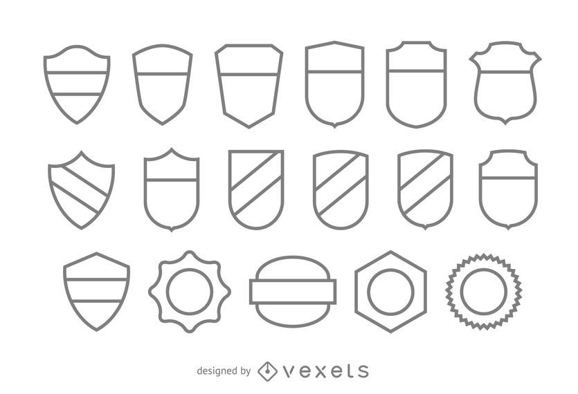 blank stroke badge template set vector download