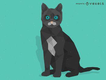 Design de gato baixo poli