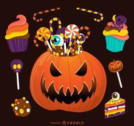 Ilustración de Halloween dulces de calabaza