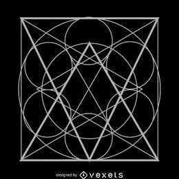 Círculos dentro de la geometría sagrada cuadrada.