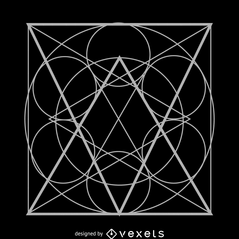 Circles inside square sacred geometry