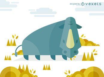 Ilustración geométrica del rinoceronte