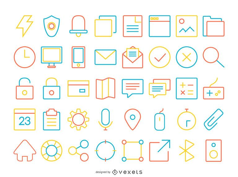 40 colorful stroke contact icon