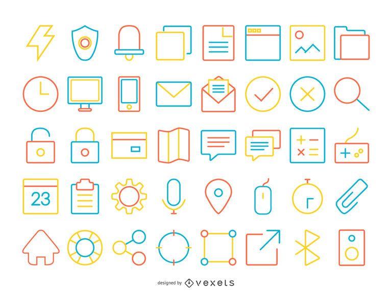 40 icono de contacto de trazo colorido