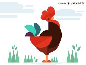 Ilustración de gallo de pollo geométrica