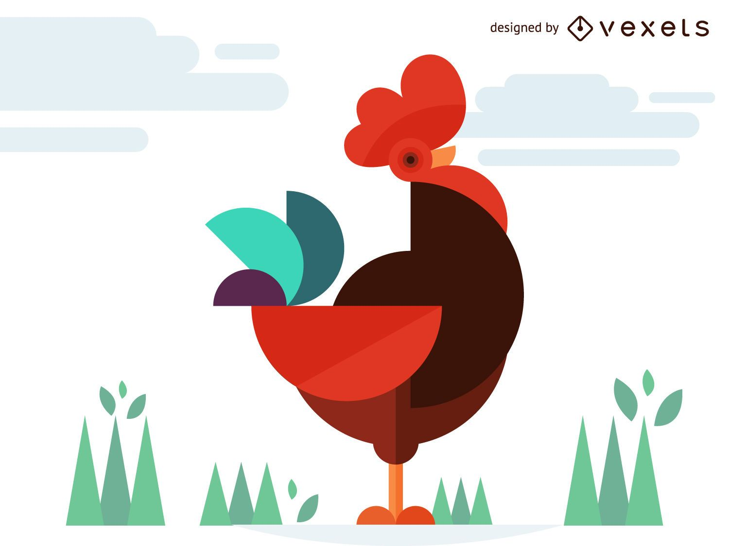 Geometric chicken rooster illustration