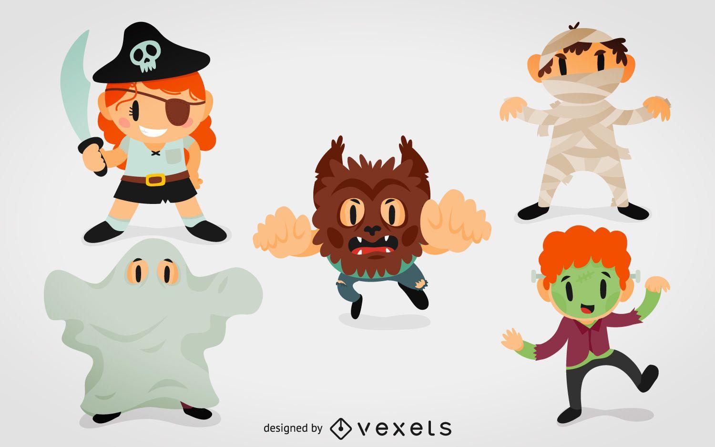Desenho animado com fantasias de monstro de Halloween