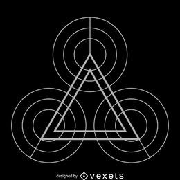 Círculos e triângulo geometria sagrada