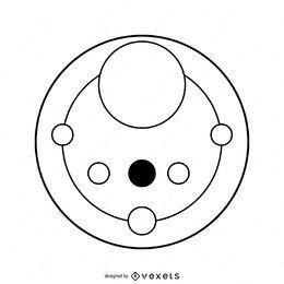 Desenho abstrato de círculos nas plantações