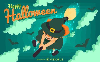 Cartel de bruja de niño de Halloween