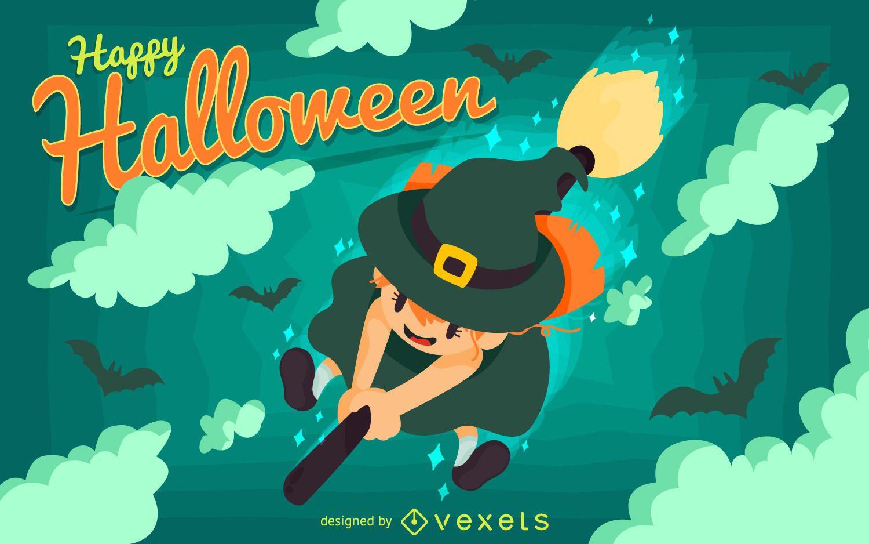 Pôster de Halloween criança bruxa