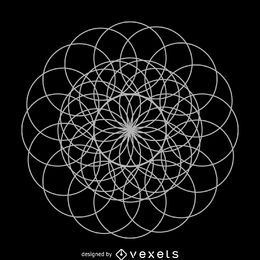 Arte de linha de geometria sagrada de flor