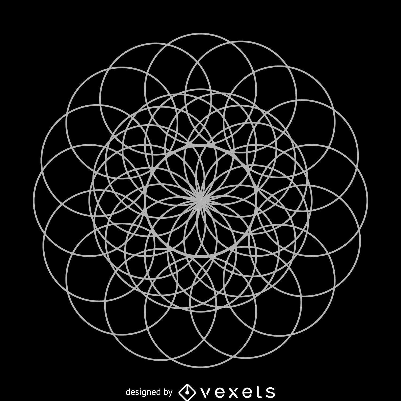 Flor geometría sagrada arte lineal