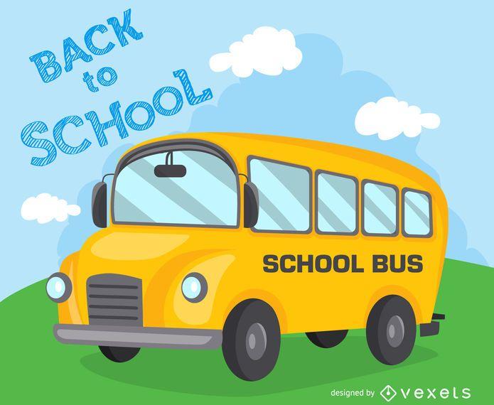 De volta ao ônibus da ilustração da escola