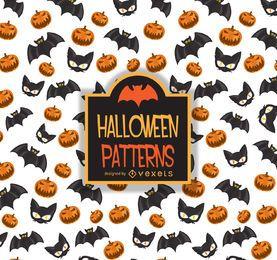 Padrão de Halloween morcego gato abóbora
