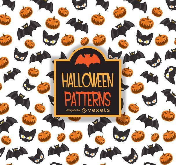 Halloween pattern bat cat pumpkin