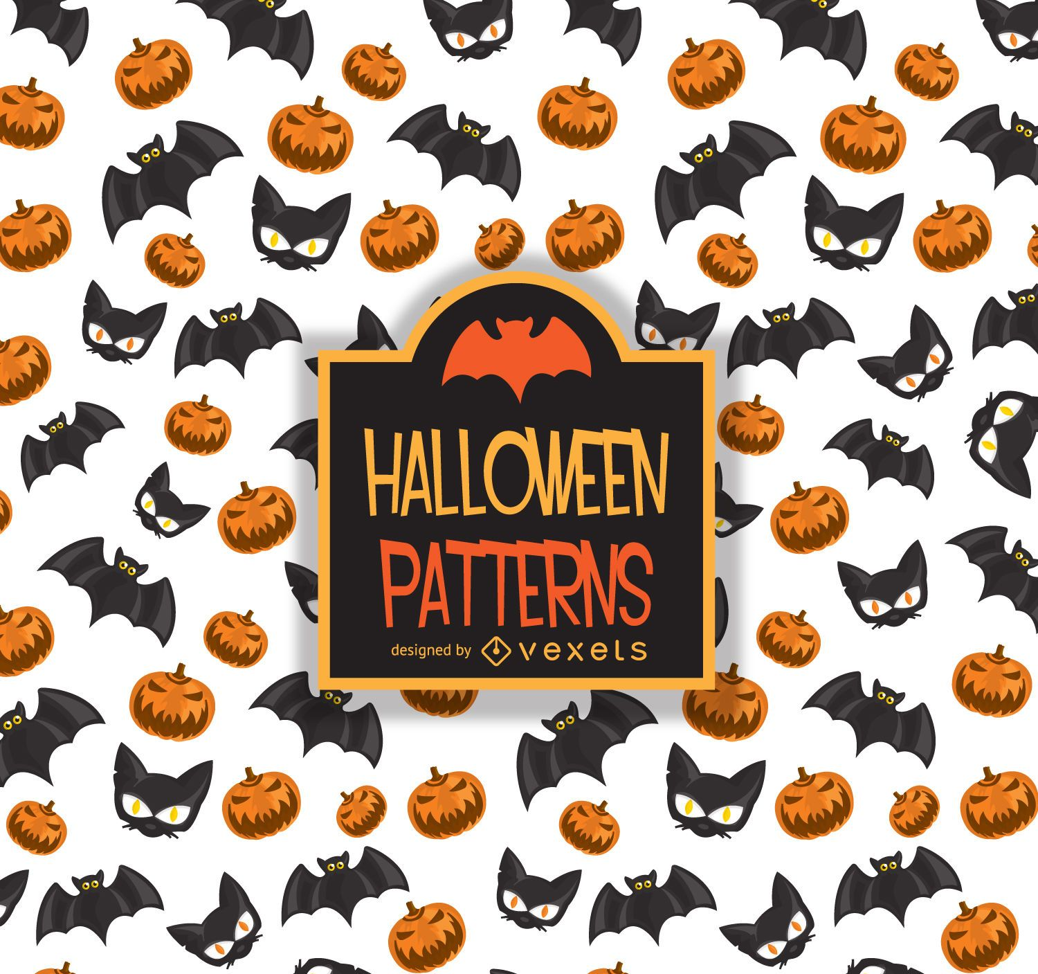 Halloween pattern bat cat pumpkin - Vector download