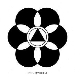 Desenho abstrato do círculo da colheita da flor