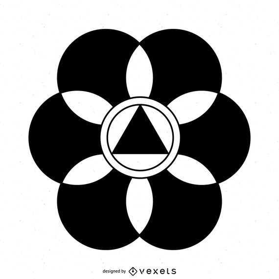 Círculo de colheita de flor abstrata Design