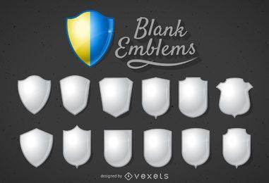 template emblema escudo 3D em branco