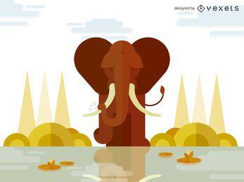 Diseño de ilustración de elefante geométrico