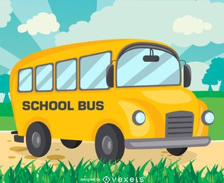 Flat school bus drawing design