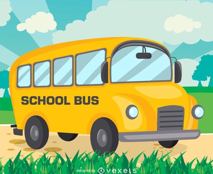 Flat school bus drawing design