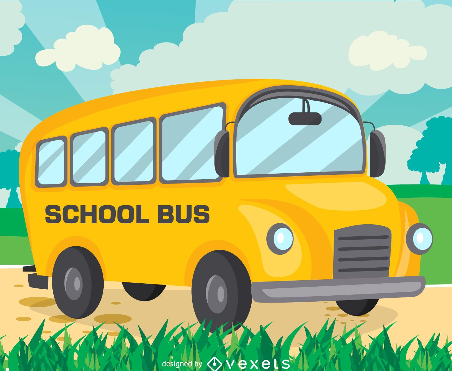 Flat school bus drawing design - Vector download