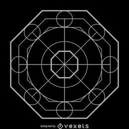 Diseño octagonal sagrado de geometría compleja.