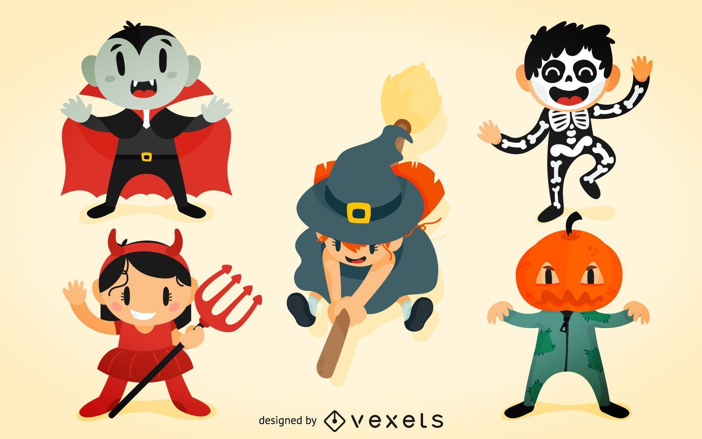 Conjunto de disfraces de halloween para niños
