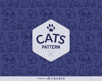 Einfache Katze umreißt Muster