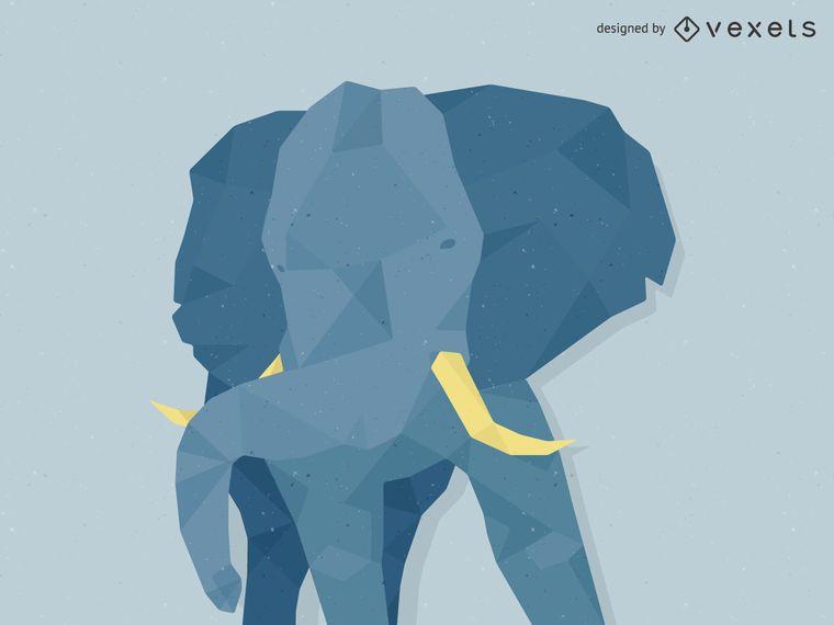 Low poly elephant illustration
