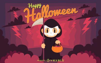 Ilustración de signo de feliz halloween