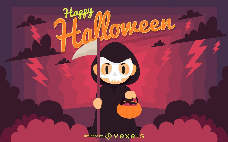 Glückliche Halloween-Zeichenillustration