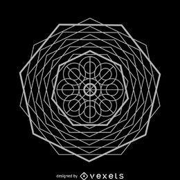 Desenho complexo de geometria sagrada abstrata