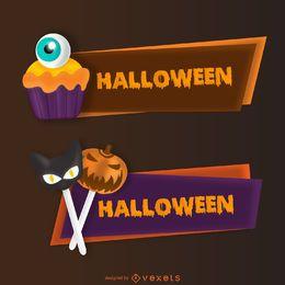 Halloween Süßigkeiten Banner gesetzt