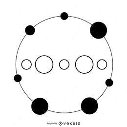 Círculo de corte circular pontilhado