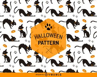 Halloween seamless cat pattern
