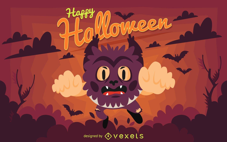 Ilustración de hombre lobo de Halloween