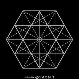 Ilustração de geometria sagrada de linhas de hexágono