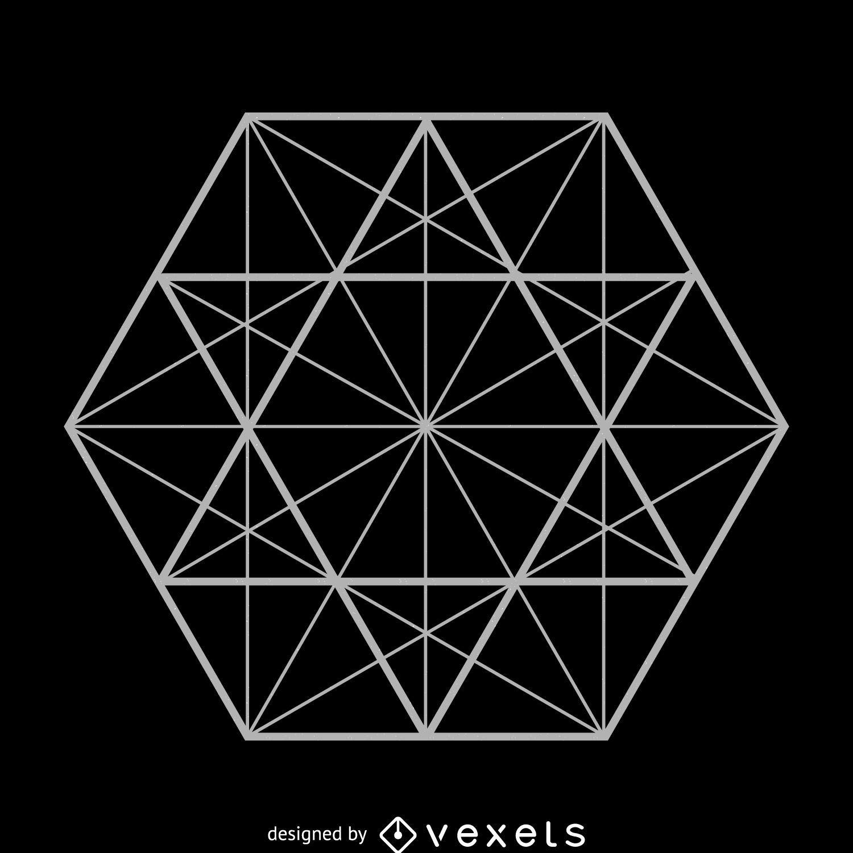 Hexagon lines sacred geometry illustration