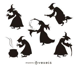 5 de siluetas de la bruja de Halloween