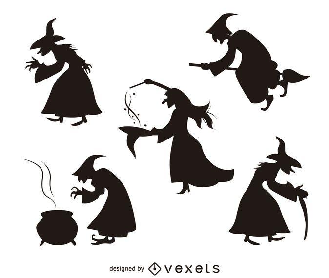 5 Silhuetas De Bruxa De Halloween Baixar Vector