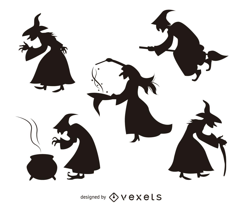 5 silhuetas de bruxas de Halloween
