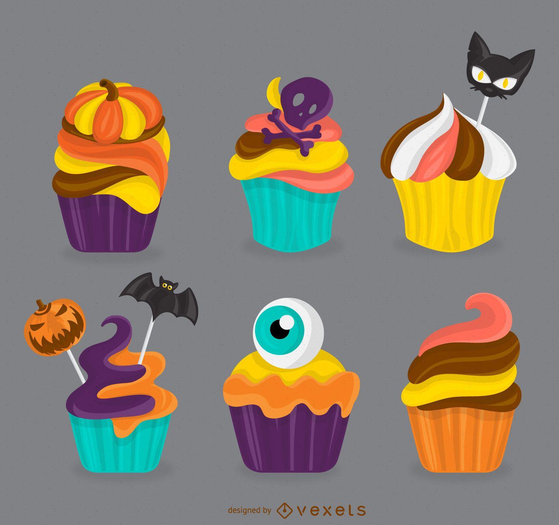 Ilustración de cupcakes de halloween
