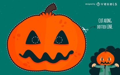 Máscara esculpida de abóbora de Halloween